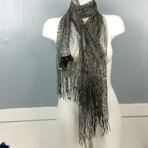 New with Tags Ladies Black Brown Silver Scarf 6X2